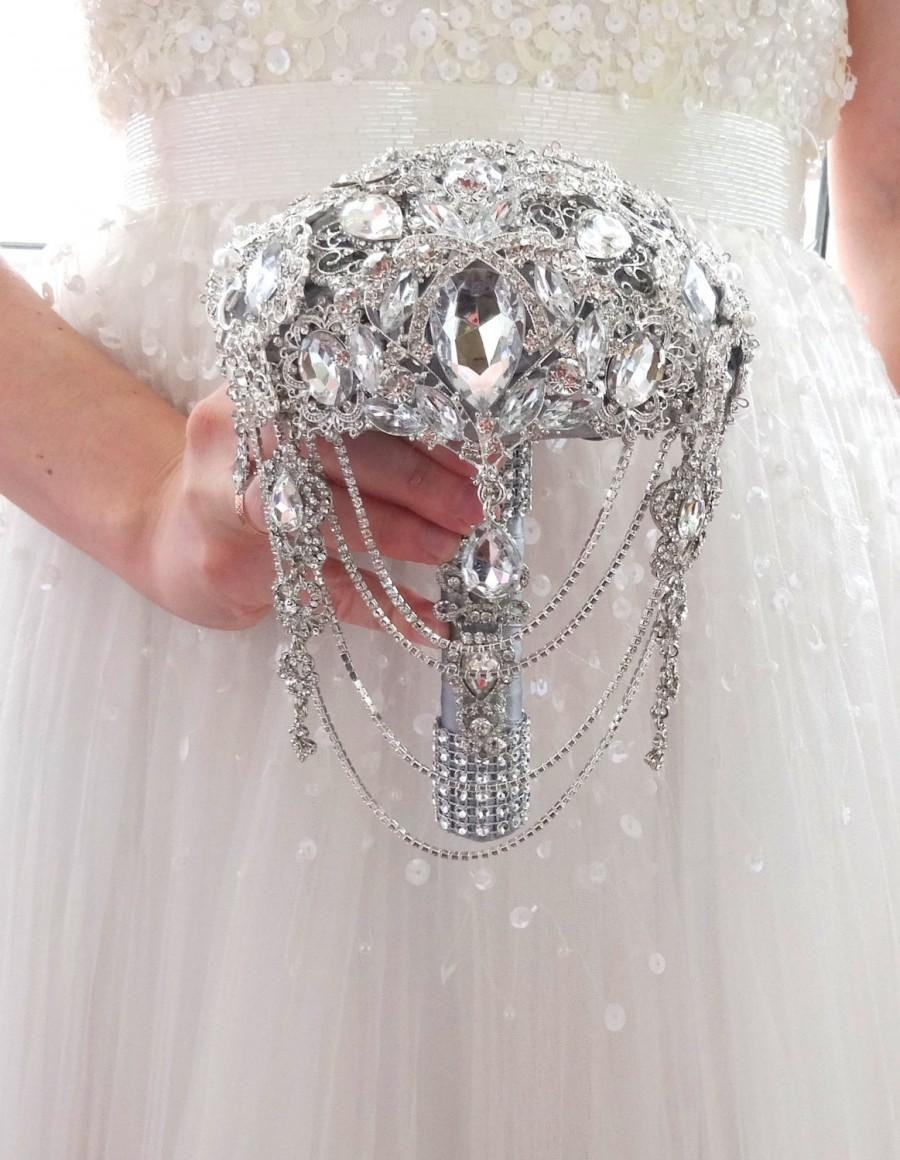 Свадьба - Bridesmaids small brooch bouquet, silver jeweled
