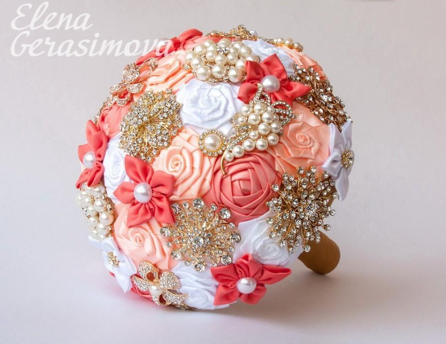 Hochzeit - SALE!!! Brooch Bouquet. Coral White Fabric Bouquet, Unique Wedding Bridal Bouquet