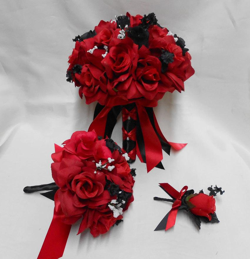 Mariage - Black Red Rose Bride's Bouquet Groom's Boutonniers Toss Bouquet Bridal Package Wedding Your Colors FREE SHIPPING