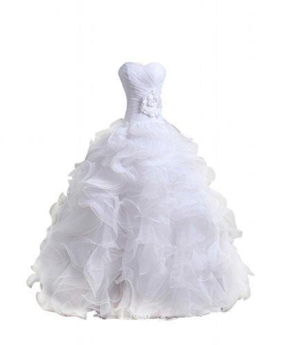 Hochzeit - Organza Sweetheart Neckline Cascading Ruched Wedding Dress