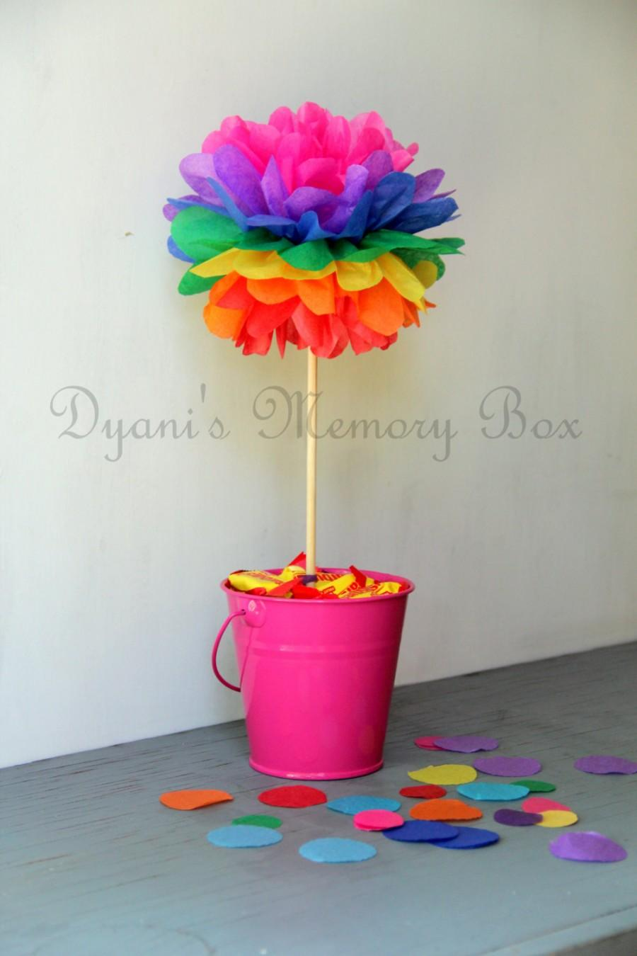 Set Of 6 Rainbow Tissue Paper Pom Poms With Wood Dowel Wedding