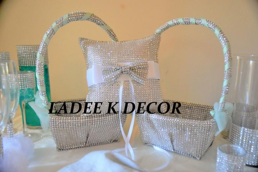 Hochzeit - One Bling Ring Bearer Pillow with matching Two Bling Flower girl baskets for your wedding