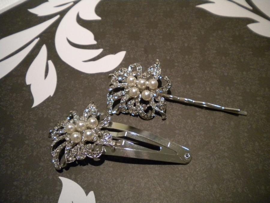 Hochzeit - Vintage Style Rhinestone and Swarovski Crystal Pearl Bridal Hair Comb Ivory, Art Deco Pearl Wedding Hair Accessories Aimee