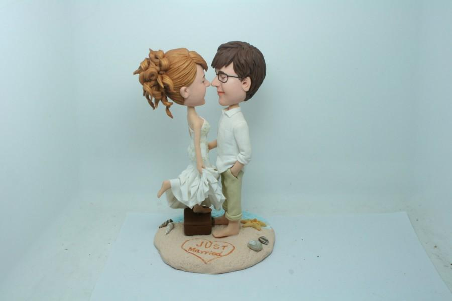 Wedding - Beach Wedding Cake Topper Figurine Customize Custom Personalized Bobble Head Clay Figurine Based on Customers' Photo Using As Wedding Gift