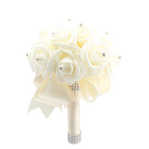Wedding - Crystal Pearl Silk Rose Wedding Bouquet