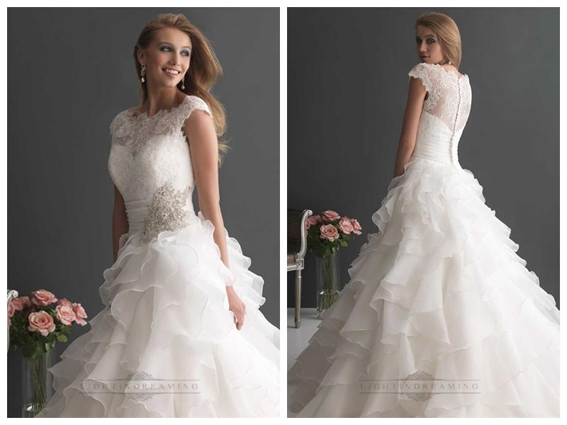 Cap Sleeves Sheer Neckline Sequin Ball Gown Wedding Dresses With ...