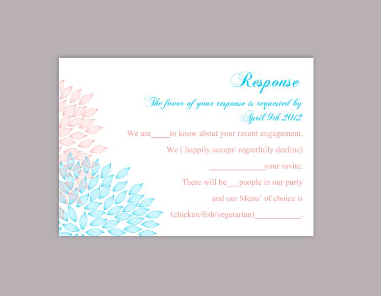 Boda - DIY Wedding RSVP Template Editable Word File Download Rsvp Template Printable RSVP Cards Blue Pink Rsvp Card Template Floral Rsvp Card