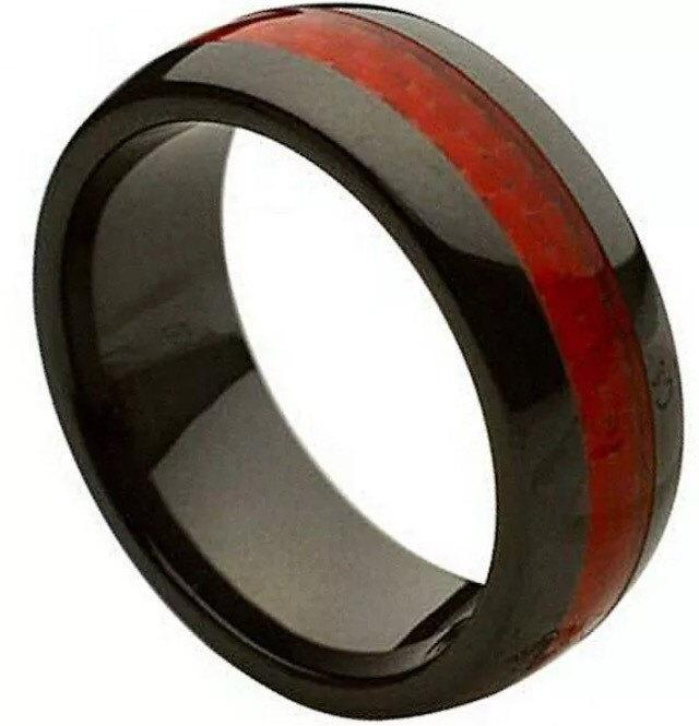 Wedding - READ SHIPPING INFO-Thin Red Line Band- Dome Unisex