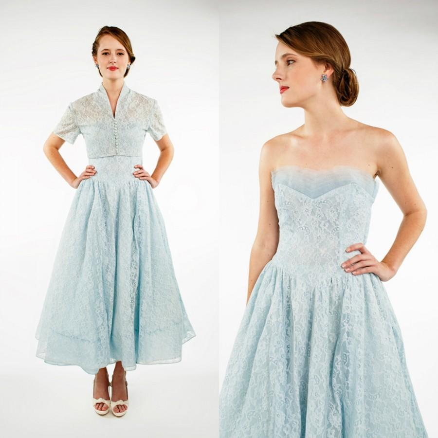 1950s bridesmaid dress vintage strapless blue dress with 1950s bridesmaid dress vintage strapless blue dress with bolero jacket prom dress ombrellifo Choice Image