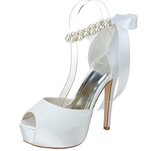 Peep Toe Satin Pearls Ankle Strap Ribbon Bow High Heel Wedding Shoes
