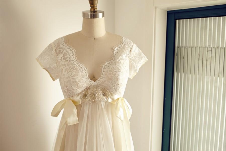 Boho Beach Lace Tulle Empire Waist Maternity Wedding Dress V Back ...