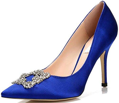 Hochzeit - Pointed Toe Rhinestones Satin Stiletto Wedding Shoes