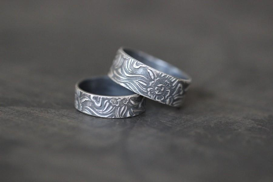 Hochzeit - SUNFLOWER Ring, His and Hers, Wedding Ring,  Wedding Band, Set, Pair, Sterling Silver, Rustic, Botanical, Wedding Band
