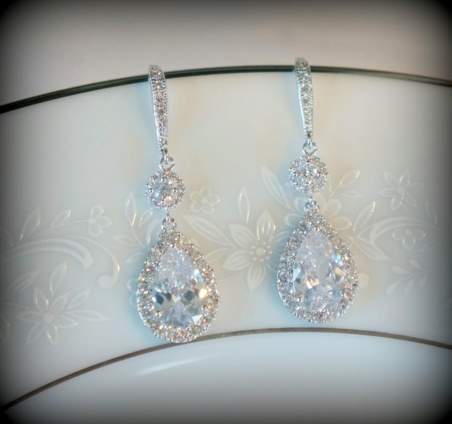 زفاف - Crystal Bridal Earrings Wedding Earrings Wedding Jewelry Statement Earrings Bridal Teardrop Earrings Bridal Jewelry Set Swarovski