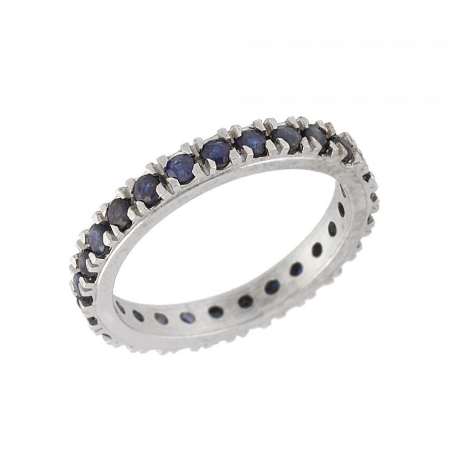 Mariage - Vintage Full Eternity Sapphire Wedding Band in 14k White Gold