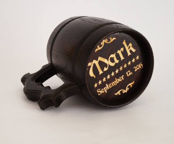 Personalized Groomsmen Gift Groomsman Wooden Beer Mug Best Man Wedding Tankard