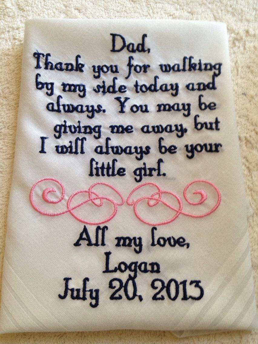 Свадьба - Personalized Father of the Bride wedding Handkerchief  gift from bride to her father