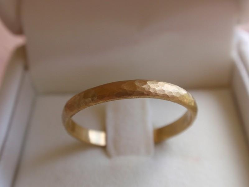 14k Solid Gold Wedding Band Hammered Ring Yellow White Rose Engagement Made To Order Handmade
