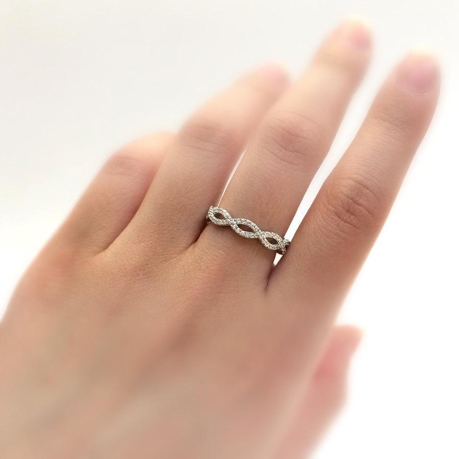 Spiral Engagement Band RingMicro Pave Set Diamond SimulantsBridal