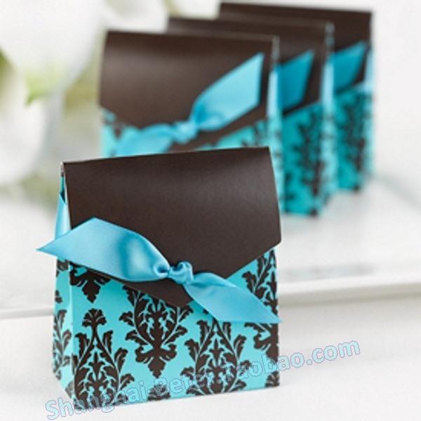 زفاف - 12pcs咖啡蓝色喜糖盒子结婚用品 欧式婚礼糖果袋TH013满月酒庆生