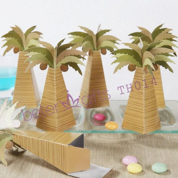 Hochzeit - 12pcs夏威夷棕榈树喜糖盒,外贸糖果盒,创意婚品,婚庆满月酒TH014
