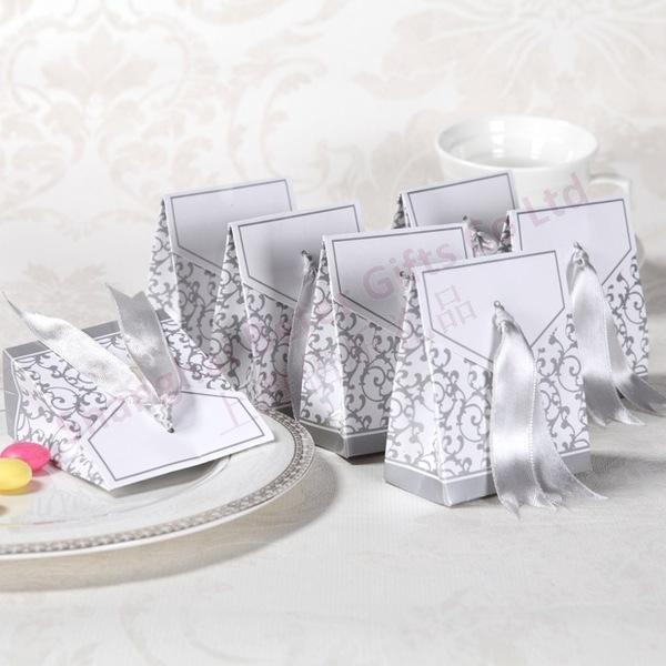 Wedding - 12pcs创意DIY喜糖袋纸盒 结婚周年银色喜婚庆婚礼糖果盒TH017爆款
