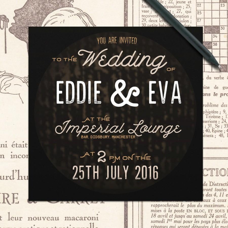Industrial Vintage Wedding Invitations, Rustic Black Wedding ...