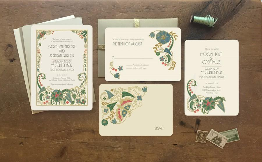 زفاف - Sample of Vintage Wedding Invitations - Jade Mandevilla