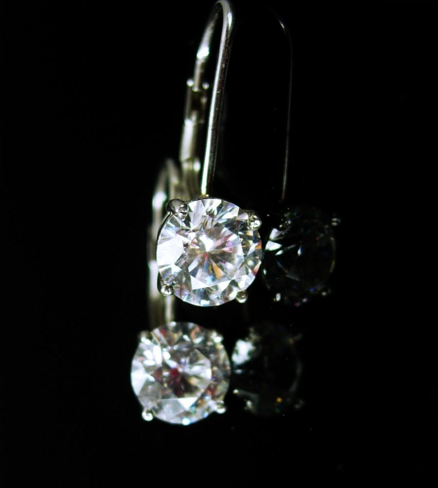 Wedding - 7 1/2 ct Cz sterling Earrings bright DIAMOND like dazzling pierced 60th 75th anniversary wedding collection Dazzling brilliance