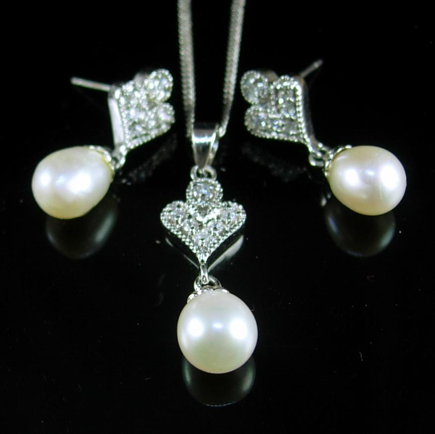 Wedding - 10kt white gold PEARL necklace 18 Diamond Earrings Vintage sterling Ladies Bridesmaid 1st 3rd 30th anniversary June birthday Gemini cancer