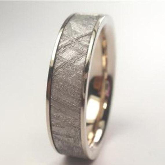 14k White Gold Wedding Band Meteorite Ring Women En S
