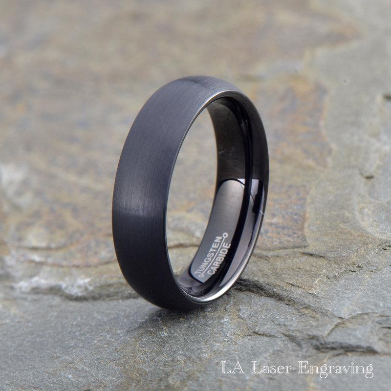 black tungsten wedding band mens ring mens wedding band With mens brushed wedding rings