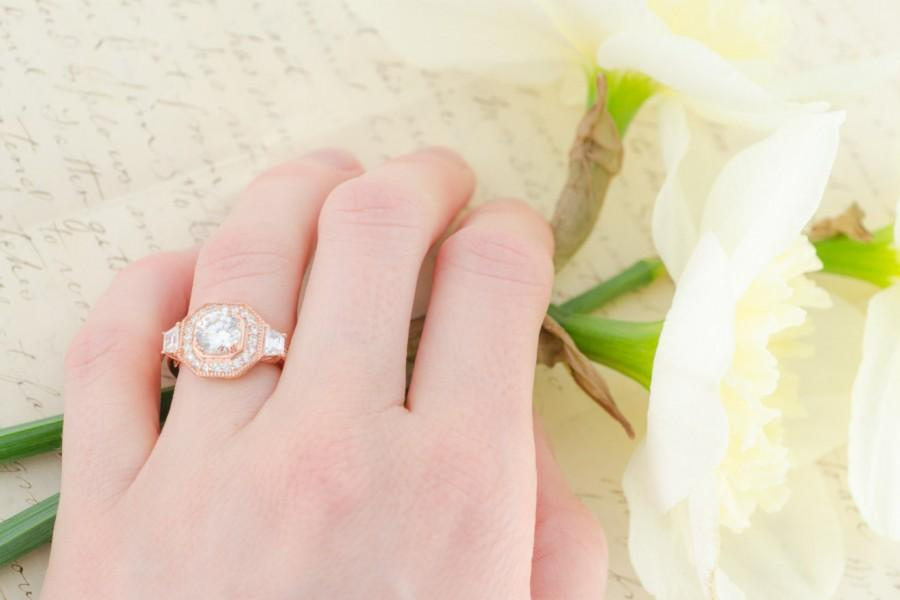 Wedding - Rose Gold Wedding Ring - Sterling Silver Ring - Vintage Engagement Ring - Cubic Zirconia Ring - Halo Ring - Art Deco Ring - Big Ring