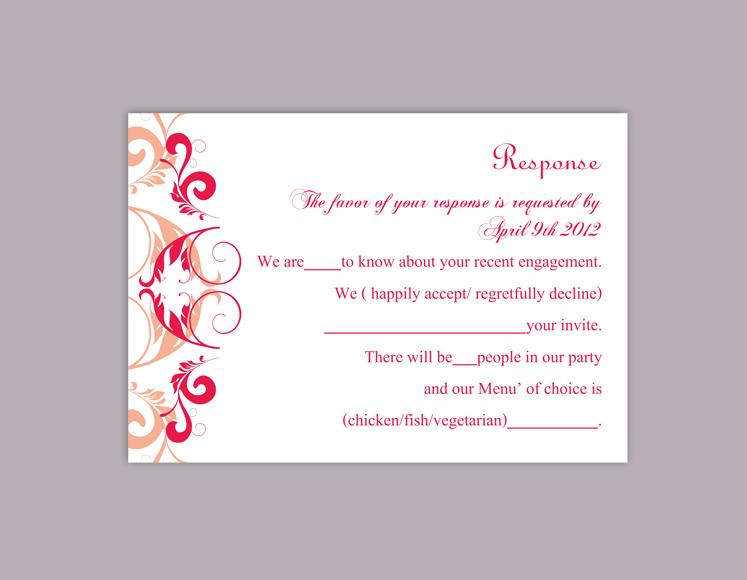 Boda - DIY Wedding RSVP Template Editable Word File Instant Download Rsvp Template Printable RSVP Cards Peach Pink Rsvp Card Elegant Rsvp Card
