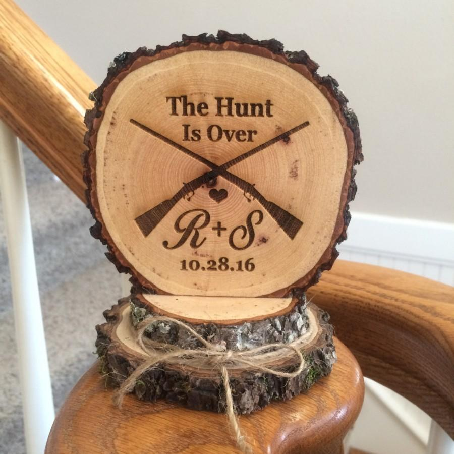 Hochzeit - Wood Wedding Cake Topper, Rustic Cake Topper, The Hunt Is Over, Custom Cake Topper, Engraved Cake Topper, Barn Wedding, Hunter Gun Topper