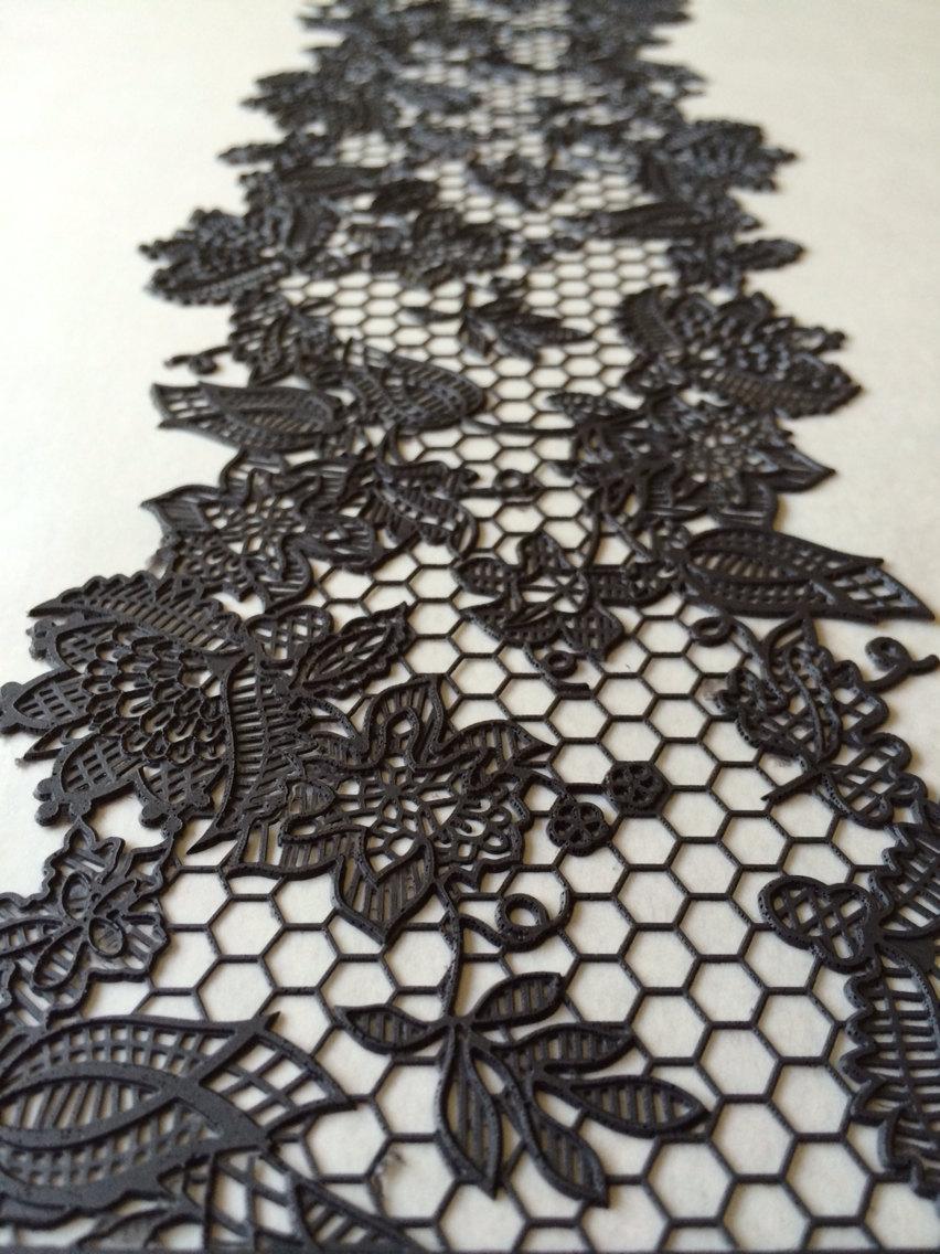 Hochzeit - Black Cake Lace x2 Strips Edible Lace