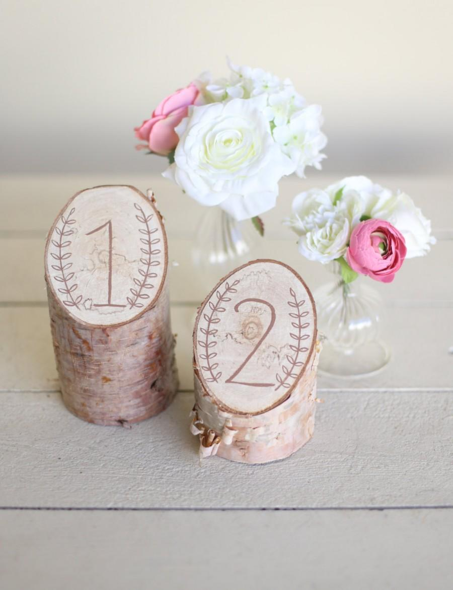 Mariage - Rustic Birch Table Numbers Laurel Wreath Barn Country Wedding Decor NEW 2014 Design by Morgann Hill Designs