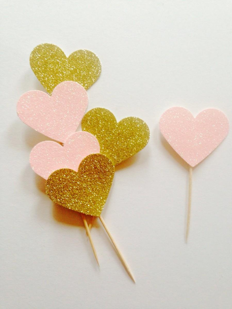 Hochzeit - Pack of large gold pink glitter heart, valentines topper, wedding toppers, gold heart topper, party, engagement toppers