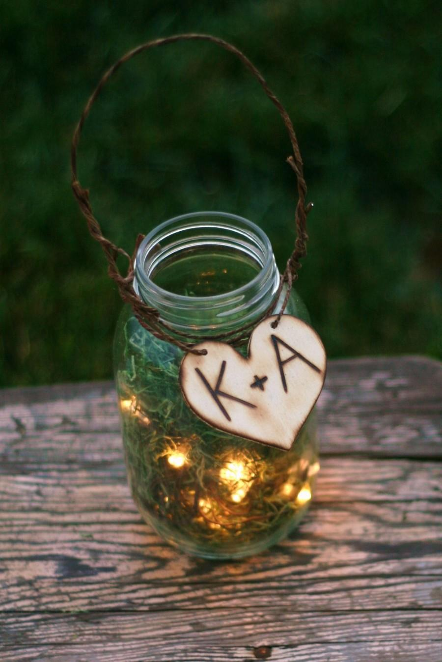 Hochzeit - Set of 6 Upcycled Personalized Firefly Lightning Bug Lanterns