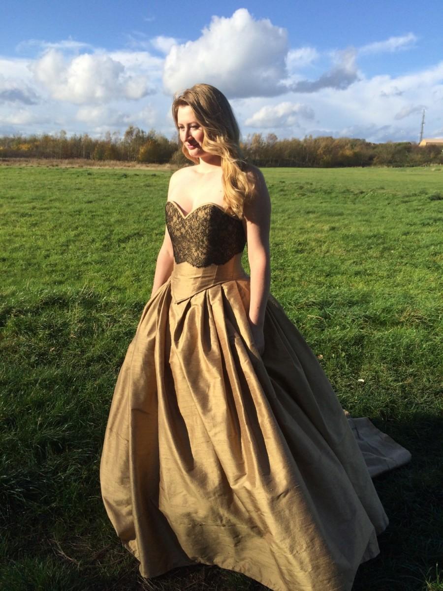 زفاف - Made to Measure/Bespoke Gold Silk Corseted Gown with Black Lace Applique Detail