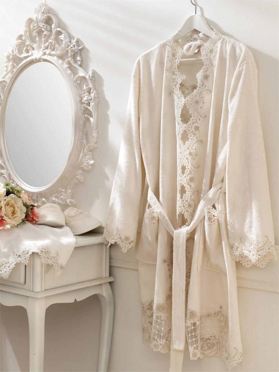 Hochzeit - Veronica Lace Embroidered Bathrobe Set, %1OO Bamboo, Lace Bathrobe, Wedding Bathrobe, Bridal Robe, Bridesmaid Robe, Honeymoon Robe