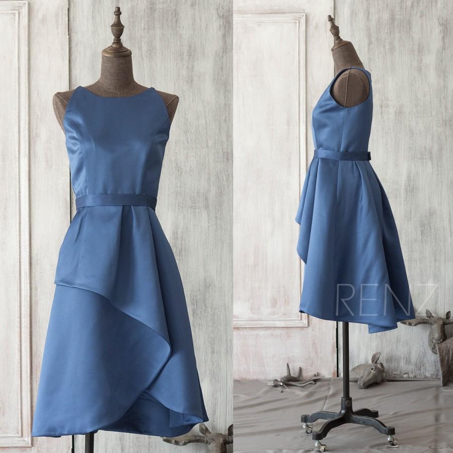 Свадьба - 2015 New blue taffeta Bridesmaid dress, Party dress, Formal dress, Knee-length dress (TT072)