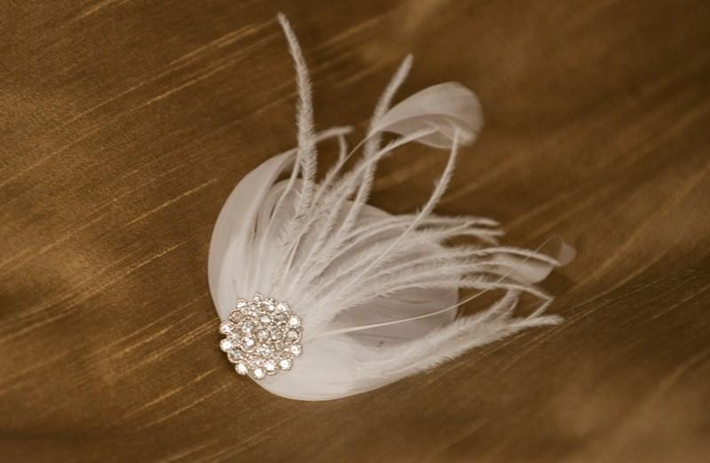 Wedding - feather fascinator, bridal fascinator, wedding fascinator