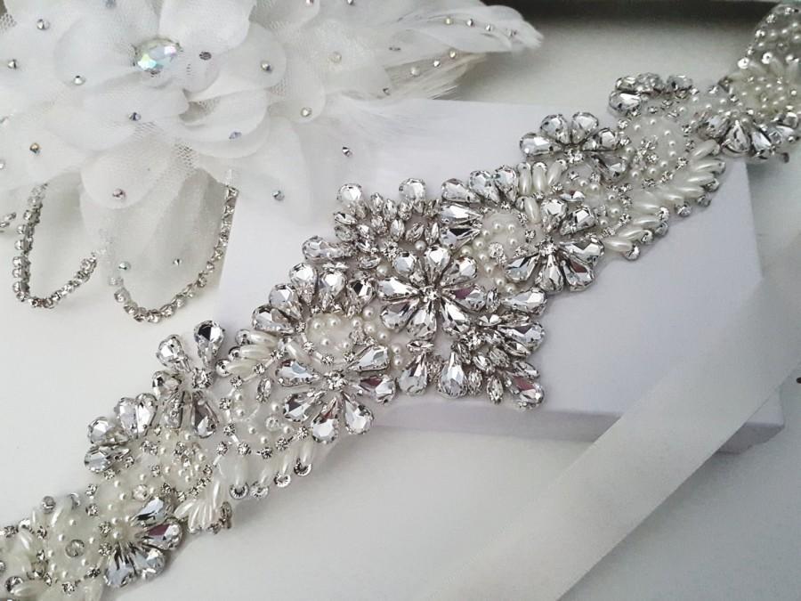 Mariage - Beaded bridal sash crystal wedding belt sash, Style 177