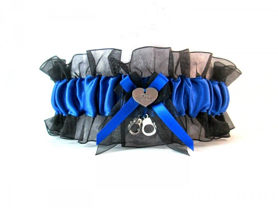 Свадьба - Handcrafted Police Garter with a charm that says I love my policeman and mini hand cuffs charms