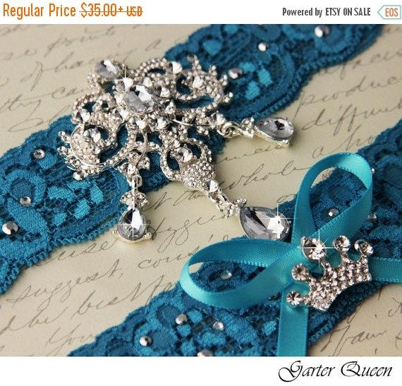 Mariage - 15% OFF Bridal Garter DEEP TURQUOISE Wedding Garter Set Something Blue Stretch Lace Keepsake and Toss Garters, Rhinestone and Crystal garter