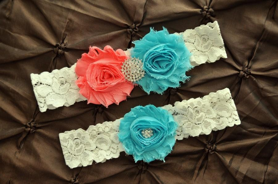 Свадьба - Wedding Garter Set, Bridal Garter Set - Ivory Lace Garter, Keepsake Garter, Toss Garter, Shabby Chiffon Rosette Coral Aqua Wedding Garter