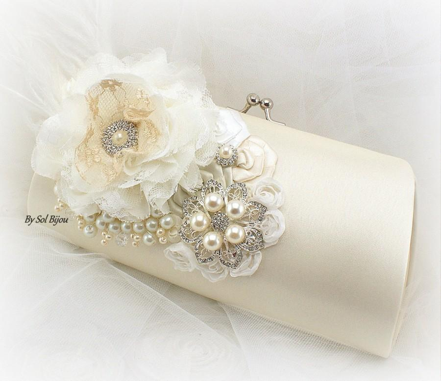 Mariage - Ivory Clutch, Cream, Ivory, White, Bridal, Wedding, Handbag, Purse, Mother of the Bride, Brooch, Ostrich Feathers, Crystals, Pearls, Elegant