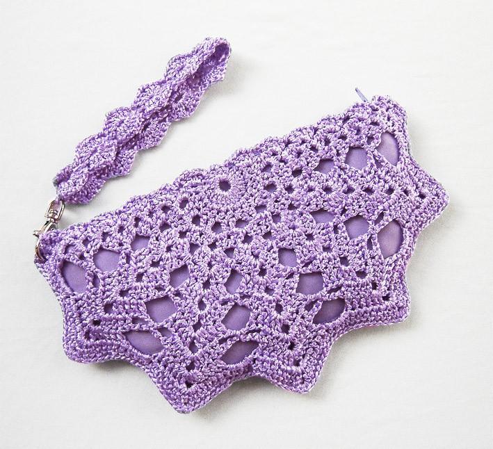 Wedding - Purple Clutch Bag - Purple Bridesmaid Purse - Bridal Clutch Bag - Small Formal Clutch - Wedding Bag - Purple Wristlet - Crochet Purse