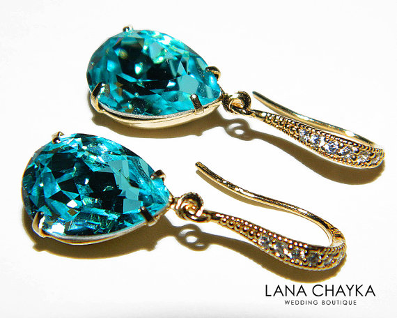 Light Turquoise Crystal Gold Earrings Swarovski Teal Rhinestone Teardrop Wedding